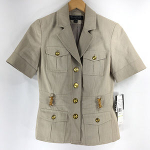Signature Larry Levine 4 Blazer Safari Jacket Gold